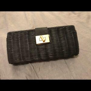 Jcrew rattan clutch in black
